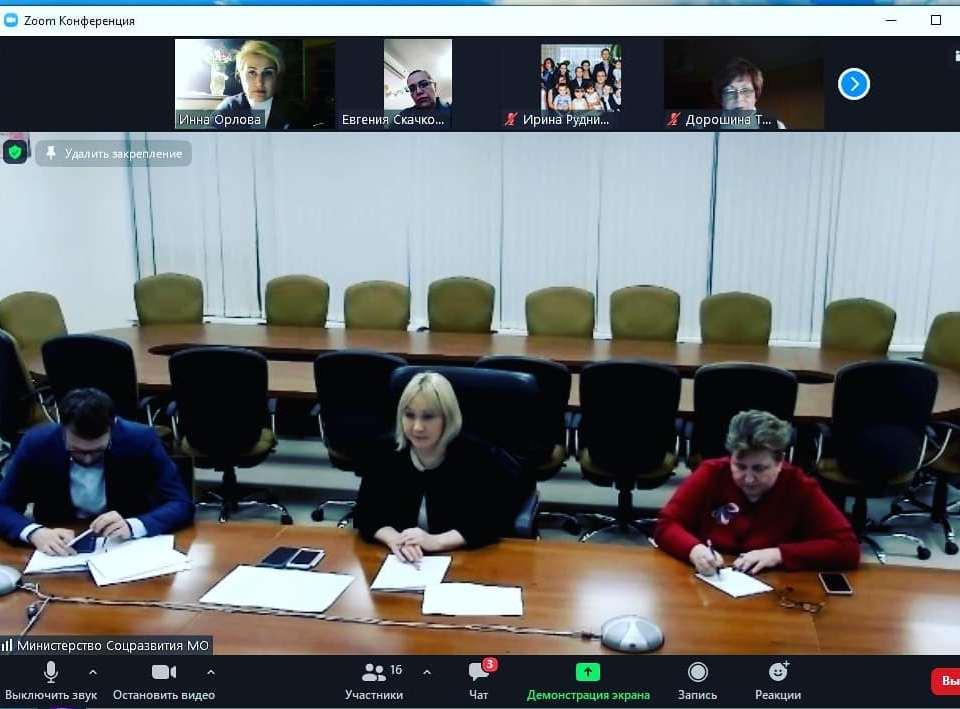11 Декабря в режиме ВКС состоялась встреча членов АРДИП с  министром социального развития МО И.К. Фаевской АРДИП